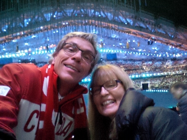 Gaetan & Karen caught in the selfie craze at the Sochi Paralympics opening ceremonies