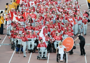 Toronto, ON - Aug 7 2015 - Team Canada enters the stadium during the Opening Ceremonies for the Toronto 2015 Parapan American Games (Photo: Matthew Murnaghan/Canadian Paralympic Committee)